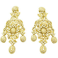 fabulous earrings fabulous pair of diamond gold chandelier earrings at 1stdibs
