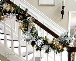 Christmas Banister Garland White And Turquoise Christmas