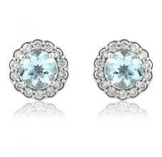 gold stud earrings uk diamond aquamarine stud earrings 0 37ct 9k white gold