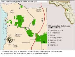 location map of the tracts in withlacoochee state forest