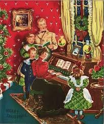 vintage greeting card fashioned family piano