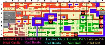 legend of zelda map with cheats of zelda heart containers