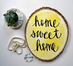 Wooden Home Decor Home Sweet Home Yellow Watercolor Wood Slice