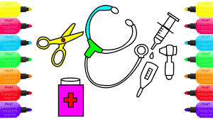 becoming a doctor draw medical set for children coloring pages