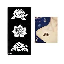 1 pc exquisite henna stencil tattoo waterproof temporary flower