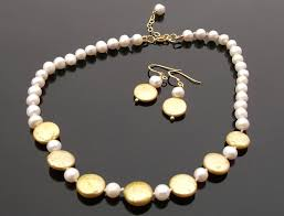 gold pearls necklace images White and lemon gold pearl necklace and earring set jpg