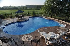 Concrete Pool Designs Ideas In Ground Pool Featuring A Vinyl Liner Hardscape Fencing