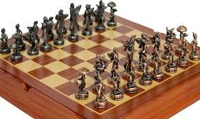 amazon com elf chess set pewter pieces and storage area toys