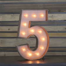 marquee numbers with lights edison marquee number 5 town country event rentals