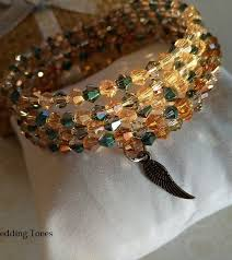 crystal bracelet charms images Handmade petrol honey crystals wrap bracelets with charms jpg