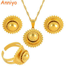 bridal set necklace earring images Anniyo ethiopian small set jewelry necklace earrings ring gold jpg