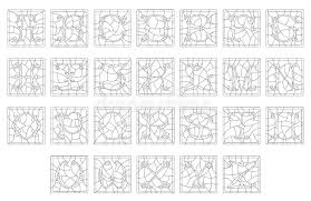 contour set latin alphabet in stained glass style outline the