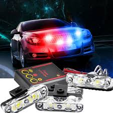 emergency vehicle light controller 1set 4 in 1 led flashing mini emergency vehicle led warning lights