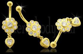 piercing buric aur înaltă calitate cu zirconia 14k aur mutarea buric inel