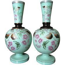Victorian Glass Vase Pair Victorian Bristol Glass Mantle Vases Hand Painted Decoration