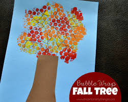 fall tree craft made with bubble wrap tree crafts fall trees