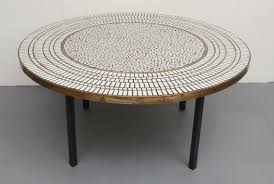 round coffee table with mosaic top 1950s design market