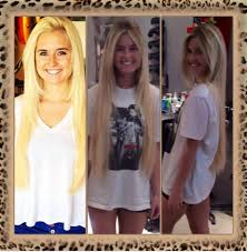 Great Lengths Hair Extensions San Diego before and after platinum blonde to a darker root ombre with 24
