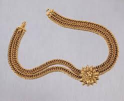 necklace chunky images Chanel 1980s cc gold france logo lion leo sun pendant chunky curb jpg