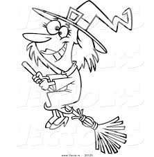 halloween witch coloring pages vector of a cartoon happy halloween good witch flying on a broom