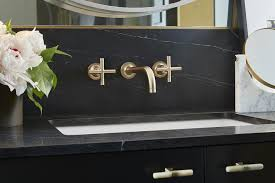 soapstone countertop black and gold bathroom with soapstone countertops and backsplash