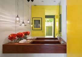 awesome yellow bathroom decor with brown wall vanity completed