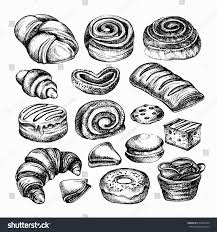 sketch bakery products different kinds bread stock illustration