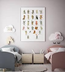alphabet poster nursery decor nursery decor animals zoom