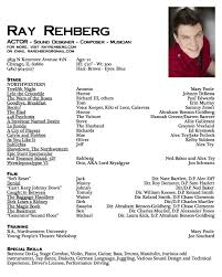 Musical Theatre Resume Examples by Acting Resume Example Sample Actor Resume Resume Cv Cover Letter
