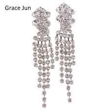bridal clip on earrings grace jun tm new style bridal silver plated rhinestone tassel