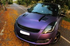 matte purple maserati maruti swift gets matte purple wrap and sporty body kit