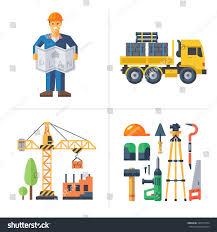 Building A House Plans Construction Worker Holding Plan Crane Building Stock Vector