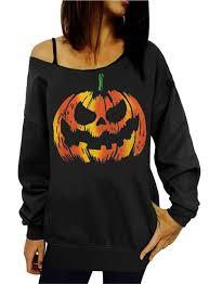 sumtory women halloween letter pumpkin print off shoulder top