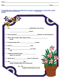 adjectives and articles worksheets mreichert kids worksheets