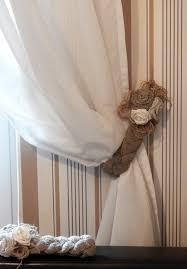 rustic curtain tie backs two burlap tie backs linen flower