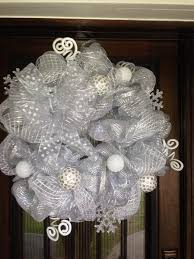 white deco mesh deco mesh wreath for christmas white and silver by joowabean