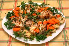 Main Dish Vegetables - delicious main dish fish with vegetables on the plate over