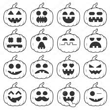 set icon emoji pumpkin black line for halloween u2014 stock vector