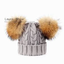 ins style baby winter 100 real 2 mink fur ball beanie knit