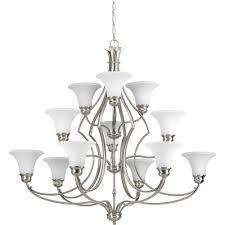 15 light chandelier progress lighting americana collection 10 light brushed nickel