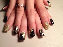 black and gold acrylic nails black and gold square nails