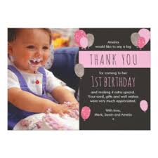 birthday thank you card 1st birthday thank you cards greeting photo cards zazzle