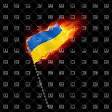 Flag Burning Legal Burning State Flag Of Ukraine On Black Background Royalty Free