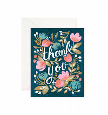 thank you cards midnight garden greeting card by rifle paper co made in usa