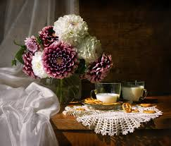 Cool Cup Flowers Bouquet Flower Cool Photography Lace Milk Vase Drink
