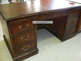 Solid Oak Corner Desk Furniture Distressed Solid Wood Desk With 6 Drawers With Brass