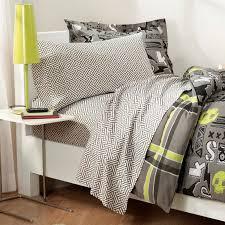 teenage boy bedroom decoration with light green grey teen bedding