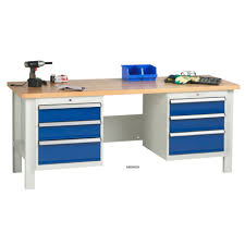 garage garage workbench with drawers wooden materials table bright white and blue color design of table in garage workbench large size