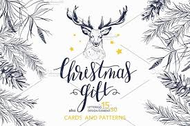 christmas gift lettering u0026 drawings illustrations creative market