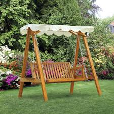 outsunny wooden swing chair outdoor patio furniture waterproof